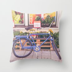 Market Bicycle Throw Pillow