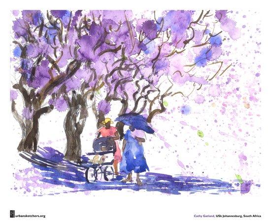 "Cathy Gatland, ""Jacaranda Shower"" Art Print"