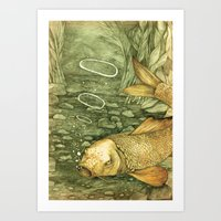 Le Mutisme d'une Carpe (The Golden Carp) Art Print
