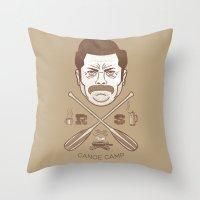 Ron Swanson Canoe Camp (… Throw Pillow