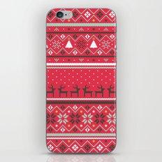Festive FairIsle - Red iPhone & iPod Skin