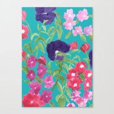 Blue Floral Print Canvas Print
