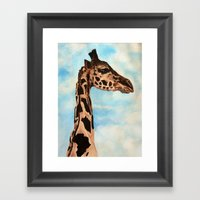 Giraffe With African Con… Framed Art Print