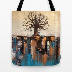 Abstract Tree - Teal and Brown Landscape Painting Tote Bag