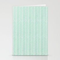 Herringbone Mint Inverse Stationery Cards