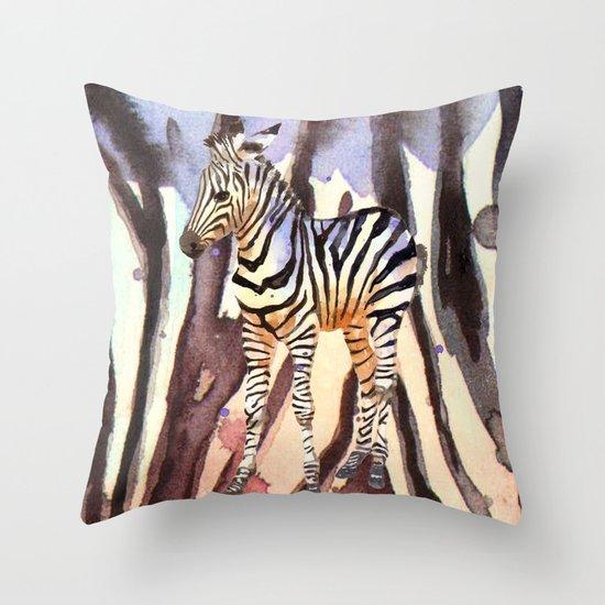 Camouflage Zebra, wildlife art, zebra art, cute nursery zebra, zebra pillow, safari art Throw Pillow