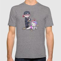 PIZZA RAIN Mens Fitted Tee Tri-Grey SMALL
