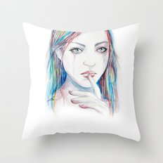 Never say a word Throw Pillow