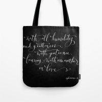Bearing in Love // White on Black Tote Bag