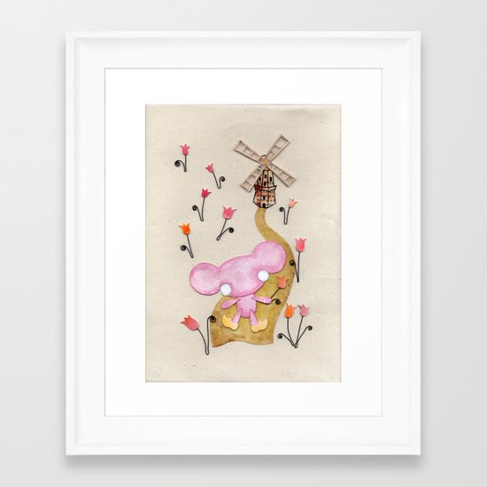 A Mouse With Clogs On, By A Windmill Framed Art Print