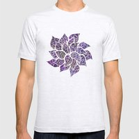 Floral Abstract 13 Mens Fitted Tee Ash Grey SMALL