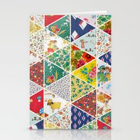 Geometric Floral Quilt Stationery Cards