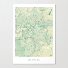 Ankara  Map Blue Vintage Canvas Print
