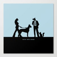 cats and dogs Canvas Print