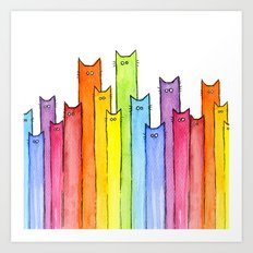 Cat Rainbow Watercolor Pattern Art Print
