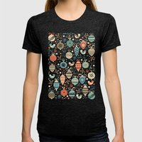 Festive Folk Charms Womens Fitted Tee Tri-Black SMALL