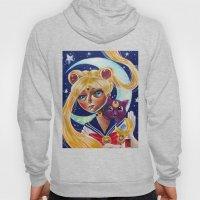 Sailor Moon and Luna Fan Art Pop Surrealism  Hoody