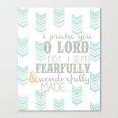 Fearfully & Wonderfully Made [gray & aqua] Canvas Print