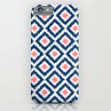 Navy Blue and Coral Diamond Ikat Pattern iPhone & iPod Case