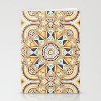 Elegant golden geometric kaleidoscope Stationery Cards