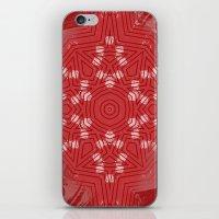 Red stripes on grunge pink mandala iPhone & iPod Skin