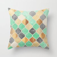 Charcoal, Mint, Wood & Gold Moroccan Pattern Throw Pillow
