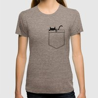 Pocket Cat Womens Fitted Tee Tri-Coffee SMALL