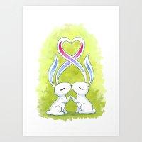 Bunny Kiss Art Print