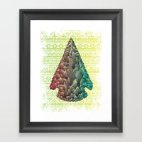 Neon Arrowhead Framed Art Print