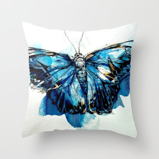 Mighty Morpho Butterfly Throw Pillow