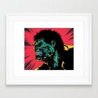 Framed Art Print featuring Hulk - Green by Suarez Art