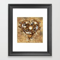 Steampunk Heart Love Framed Art Print