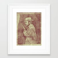 Framed Art Print featuring The Man with No Name by boy Roland