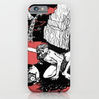 iPhone & iPod Case featuring caveman red by Andra Vlasceanu