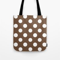 Polka Dots (White/Coffee) Tote Bag