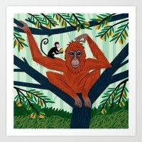 The Orangutan In The Ora… Art Print