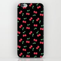 Cherries on Black iPhone & iPod Skin