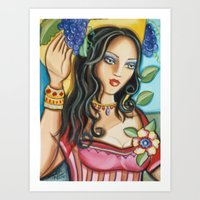 Woman with Grapes Art Print