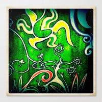 Green Floral Canvas Print