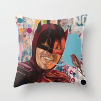 Caped Crusader by Famous When Dead Throw Pillow