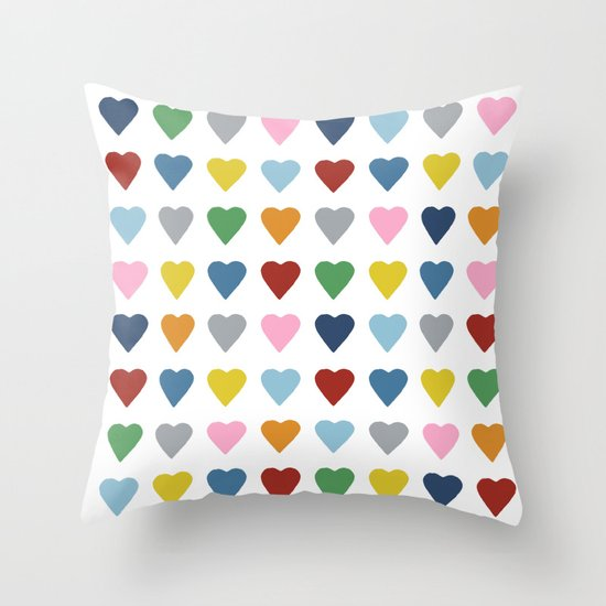 64 Hearts Throw Pillow