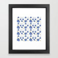 Cape Cod Hydrangea Blooms and gold birds Framed Art Print