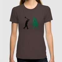 Funny Christmas Tree Hun… Womens Fitted Tee Brown SMALL