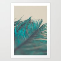 Turquoise Feather Abstra… Art Print