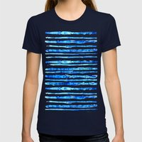 Blue Ink Stains Womens Fitted Tee Navy SMALL