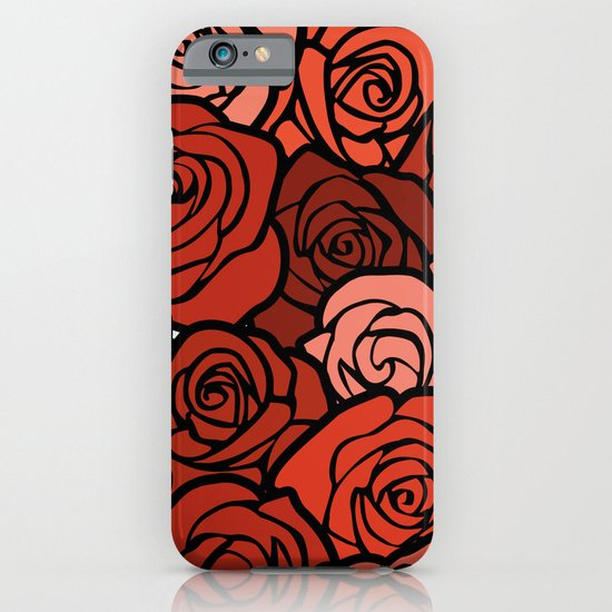 Romantic Orange roses with black outline iPhone & iPod Case