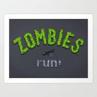 ZOMBIES, Run! Art Print