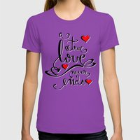 Valentine Love Calligrap… Womens Fitted Tee Ultraviolet SMALL