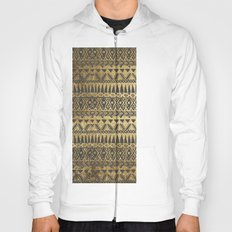 Swanky Faux Gold and Black Hand Drawn Aztec Hoody