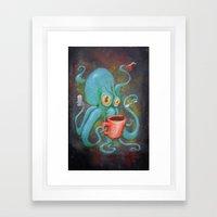 Michelle's Coffee Drinking Octopus Framed Art Print